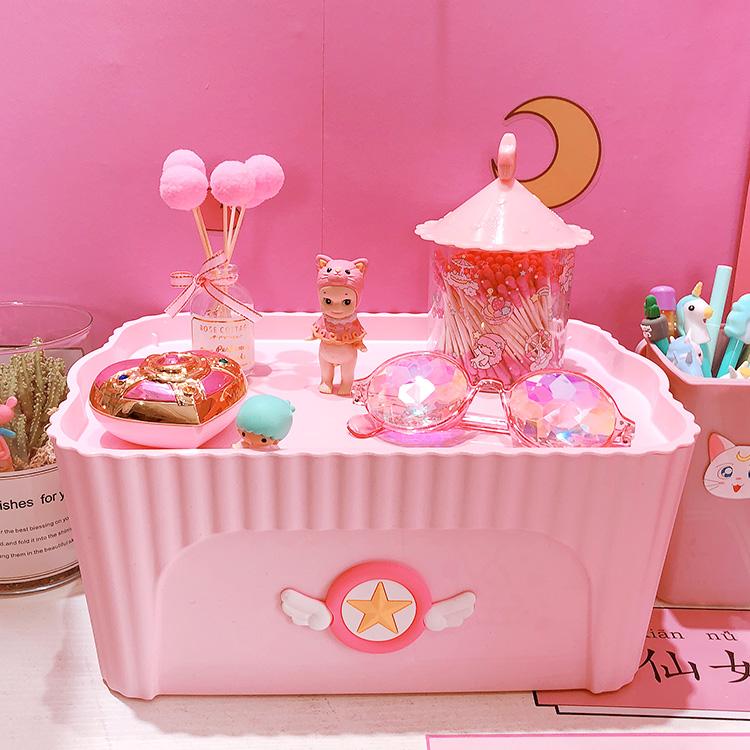 粉色少女储物箱带盖整理箱塑料杂物盒食品内衣服化妆品收纳箱子