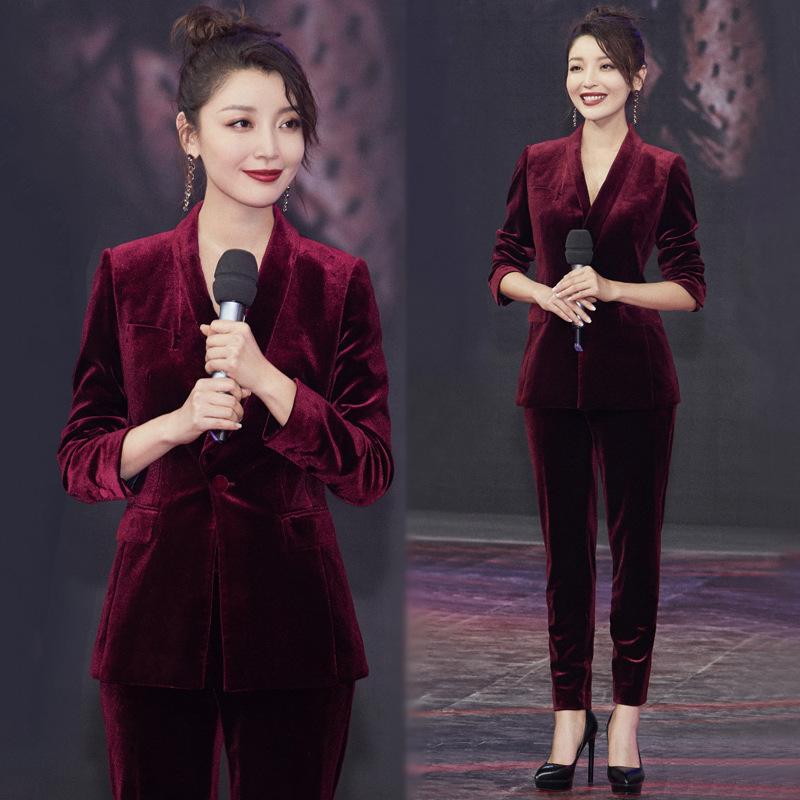 高晓菲同款酒红金丝绒西装套装韩版时尚新款西服九分裤两件套女