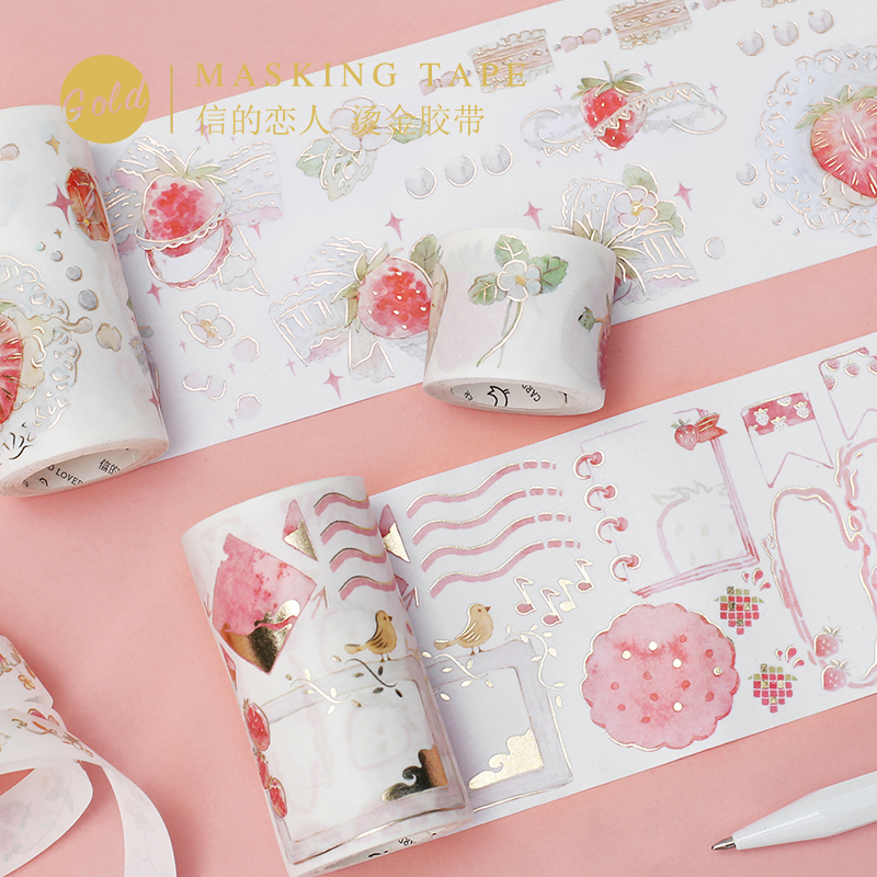 Letters lover and paper tape strawberry party series creative hand account notebook DIY hot stamping decorative stickers