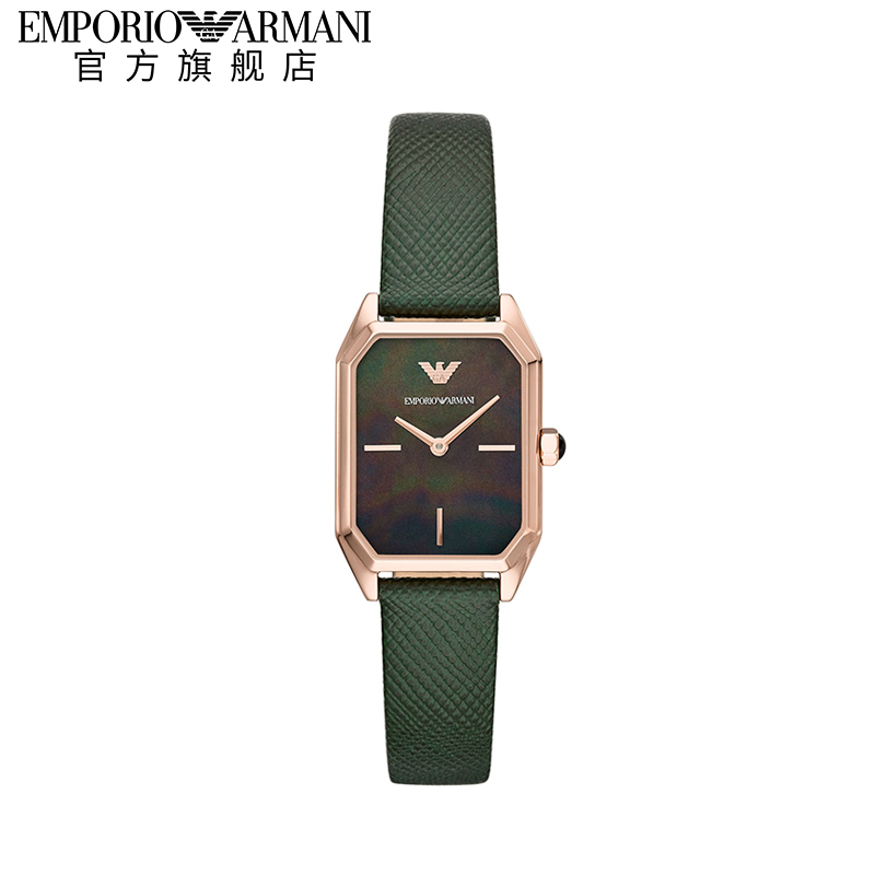 Armani阿玛尼小方表官方正品复古小绿表方形皮带女士手表AR11149图片