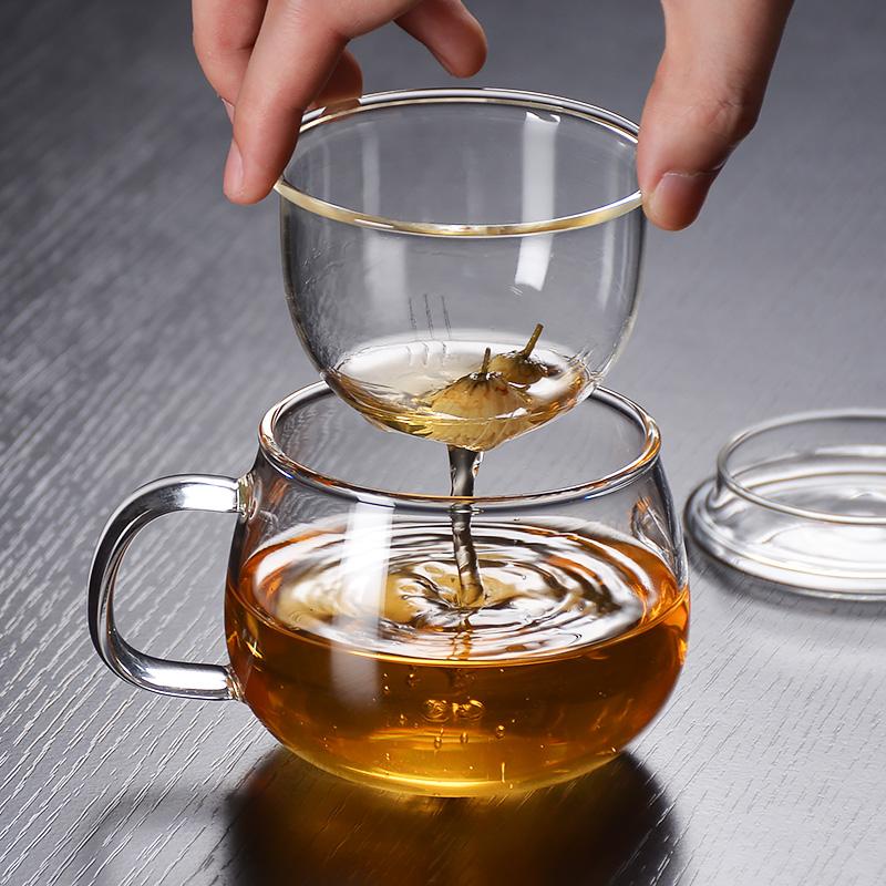 耐热玻璃水杯带过滤内胆把手盖透明花茶杯三件套杯子300ml耐高温