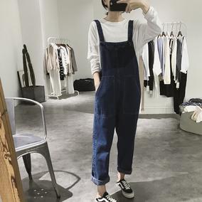 牛仔背带裤女士春秋高腰学生连体裤