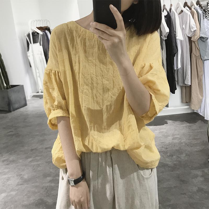 棉�r衫女式夏短袖�A�I��松大款胖mm�p薄大�a�@瘦�n版格子蝙蝠t恤
