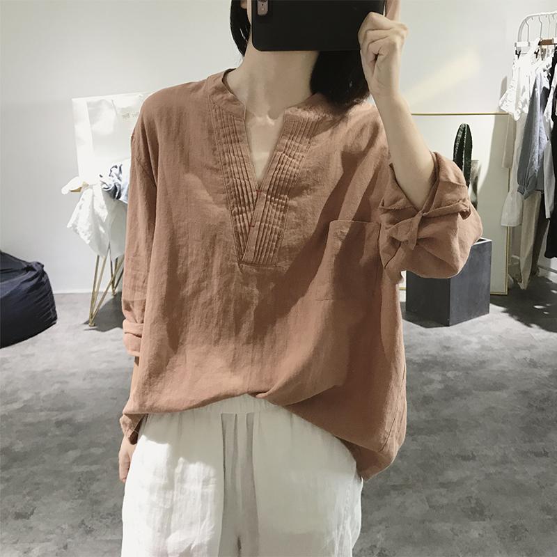 限时抢购v领棉麻衬衫女式春秋长袖宽松大码显瘦套头大款复古文艺亚麻上衣