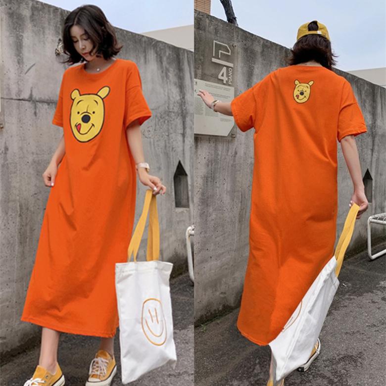 短袖睡裙女夏季睡裙桔色双维尼熊 M-XXL (15元)新款 现货