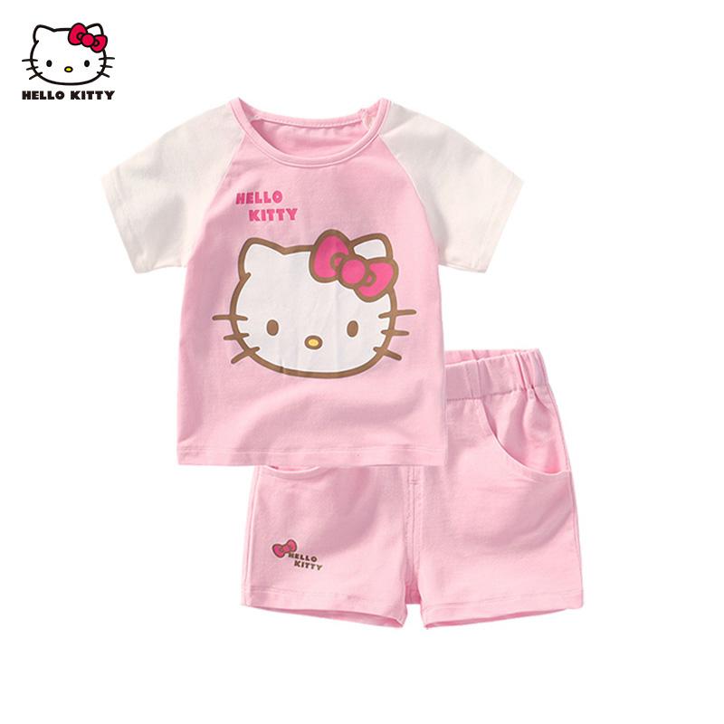 HelloKitty童装夏季女童薄款可爱棉质短袖短裤两件套装