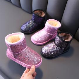 2020冬季新款亮片儿童雪地靴女童保暖靴子男童加绒短靴中大童棉鞋