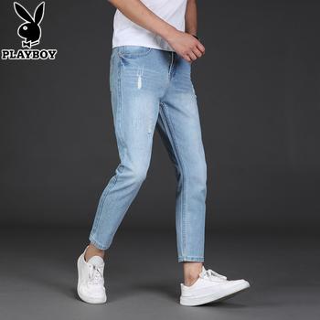 花花公子夏季薄款牛仔裤男士潮流弹力修身裤子直筒宽松青年九分裤