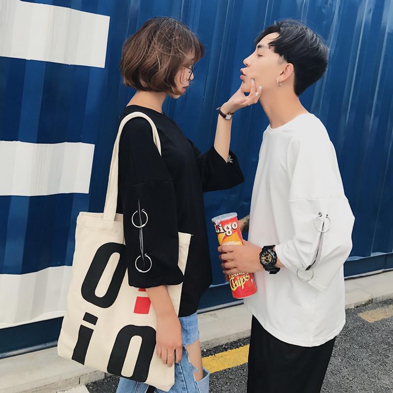 526#(实拍)夏装T恤女学生闺蜜宽松七分袖情侣装短袖韩版半袖上衣