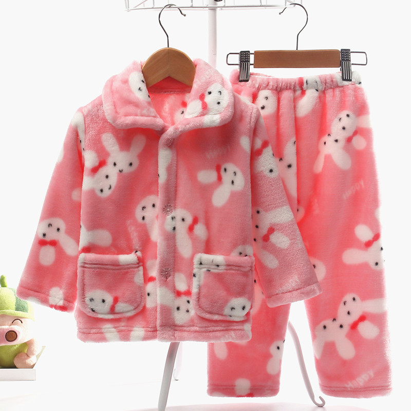 Осенью и зимой ребенок пижама фланель установите ребенок мальчиков девочки длинный рукав коралл ребенок девушка домой одежда