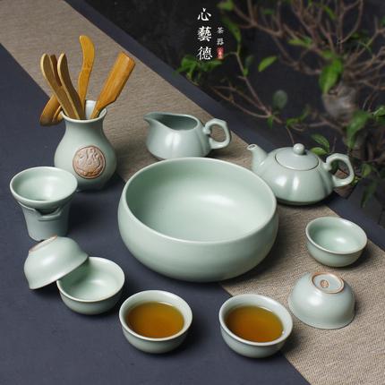 汝窑茶具套装 开片盖碗茶壶公道杯汝瓷可养整套 冰裂陶瓷功夫茶具
