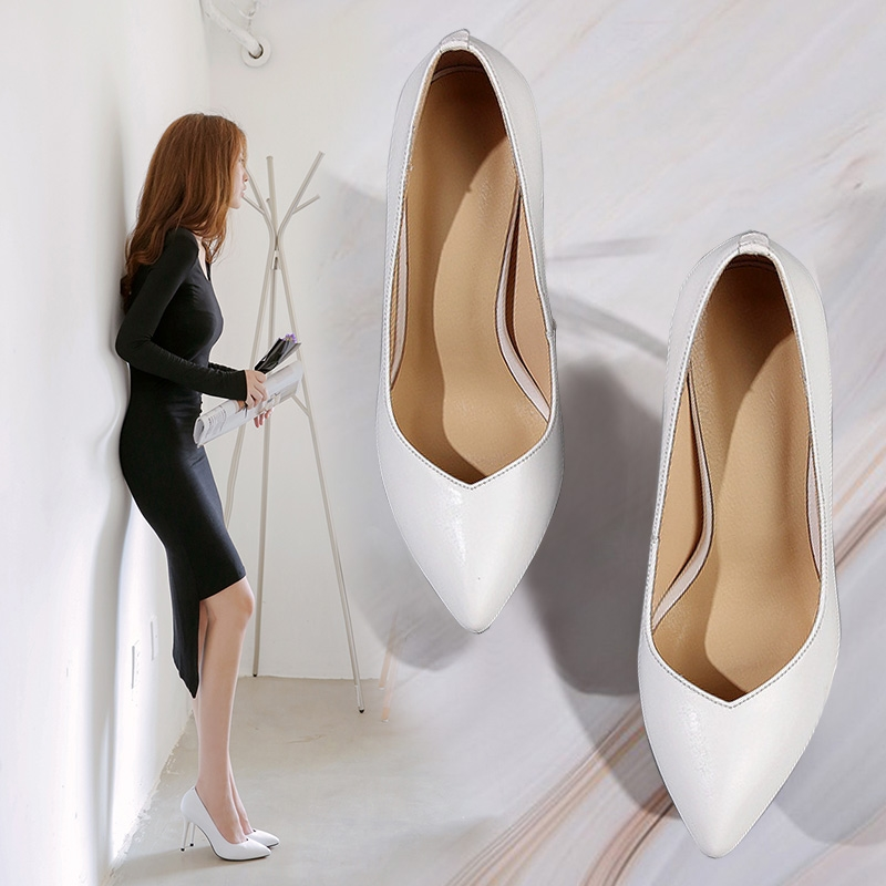 Spring and summer 2020 new genuine leather shoes white high-heeled womens slim heel pointed shallow mouth versatile medium heel Bridesmaid shoes wedding shoes