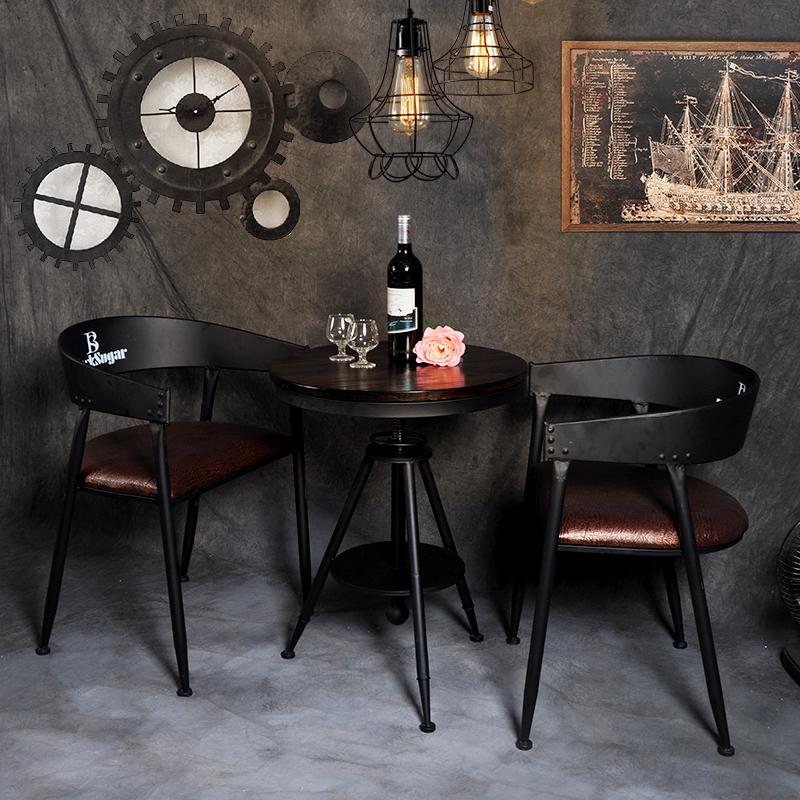 复古实木工业风圆桌星巴克西餐厅咖啡厅休闲吧酒吧奶茶店桌椅组合