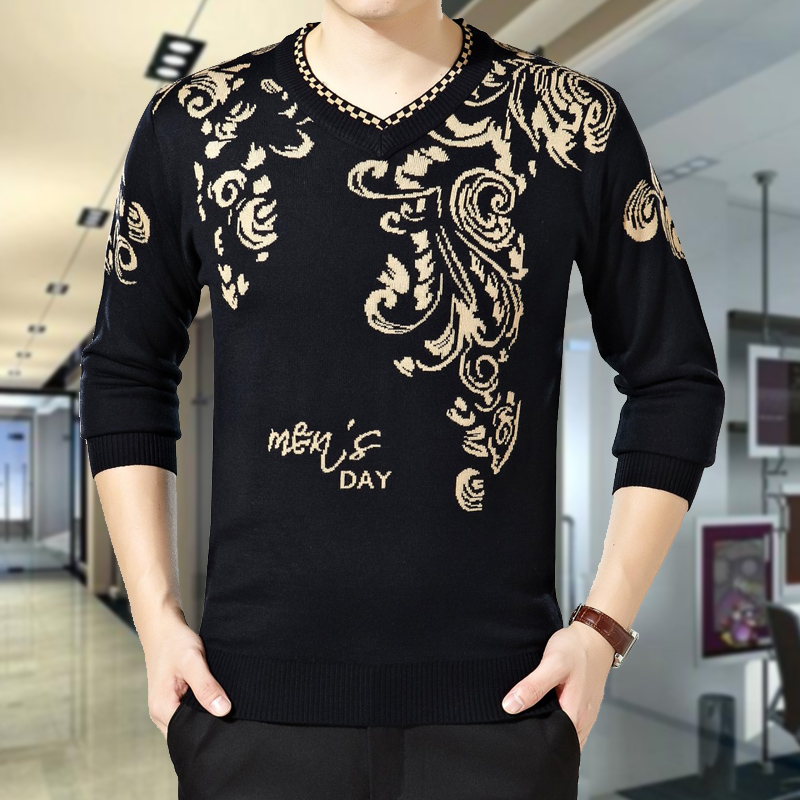 Winter mens thick sweater Pullover T-shirt chicken heart collar plus size mens V-neck loose fashion mens sweater