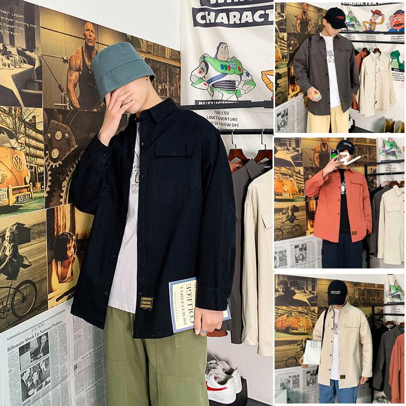 春季主推款男士大码原创几物纯色原创设计翻领衬衫C779控78-P55