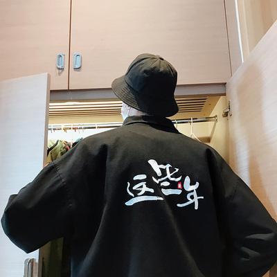 18秋季新款港风男士大码水洗宽松复古刺绣翻领夹克外套JK01-P95