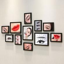 美甲实木装饰画美容院创意纹绣照片墙彩妆睫毛相框组合半永久海报
