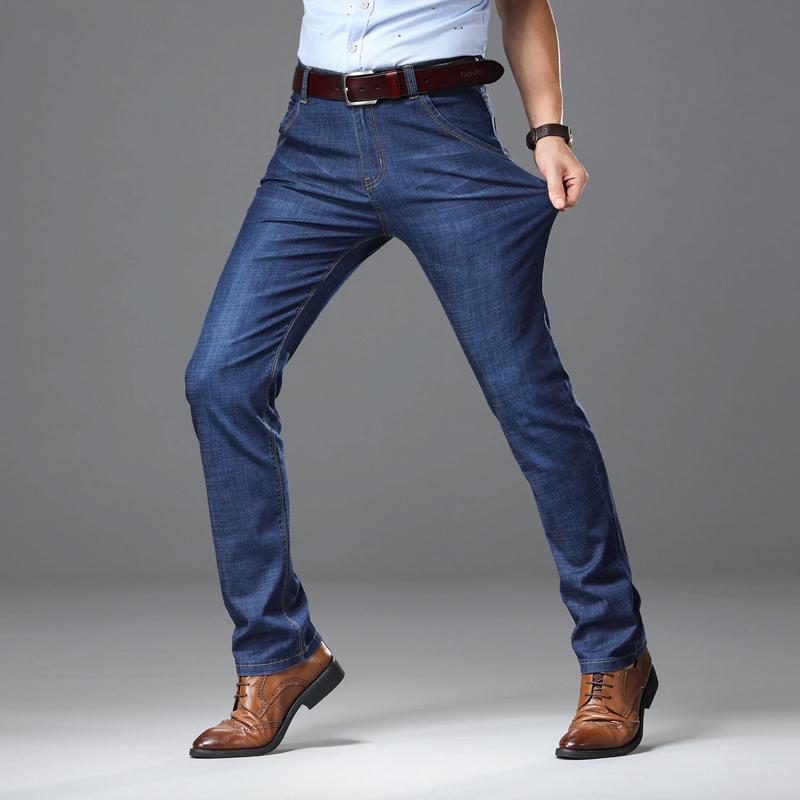 S亚博娱乐平台入口2019薄款牛仔裤男直筒高弹力中腰男长裤休闲修身男裤