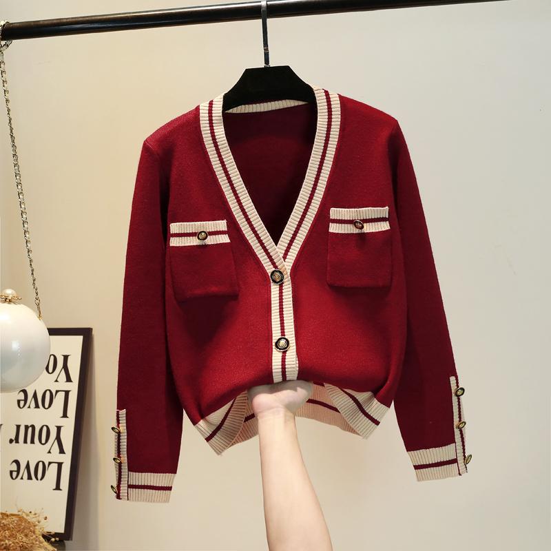 网红毛衣女红色 2021春秋新款韩版洋气加厚针织开衫小香V领外套风
