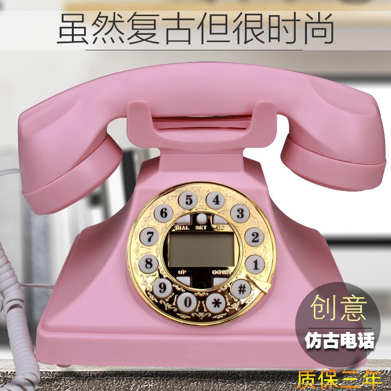 新品欧式仿古电话复古创意酒店办公固话座式拨号式家用有绳电话机