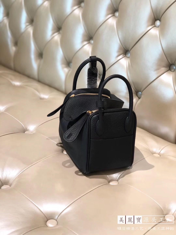 All handmade imported TC leather doctor Lindy bag female mini portable Single Shoulder Messenger Bag Black