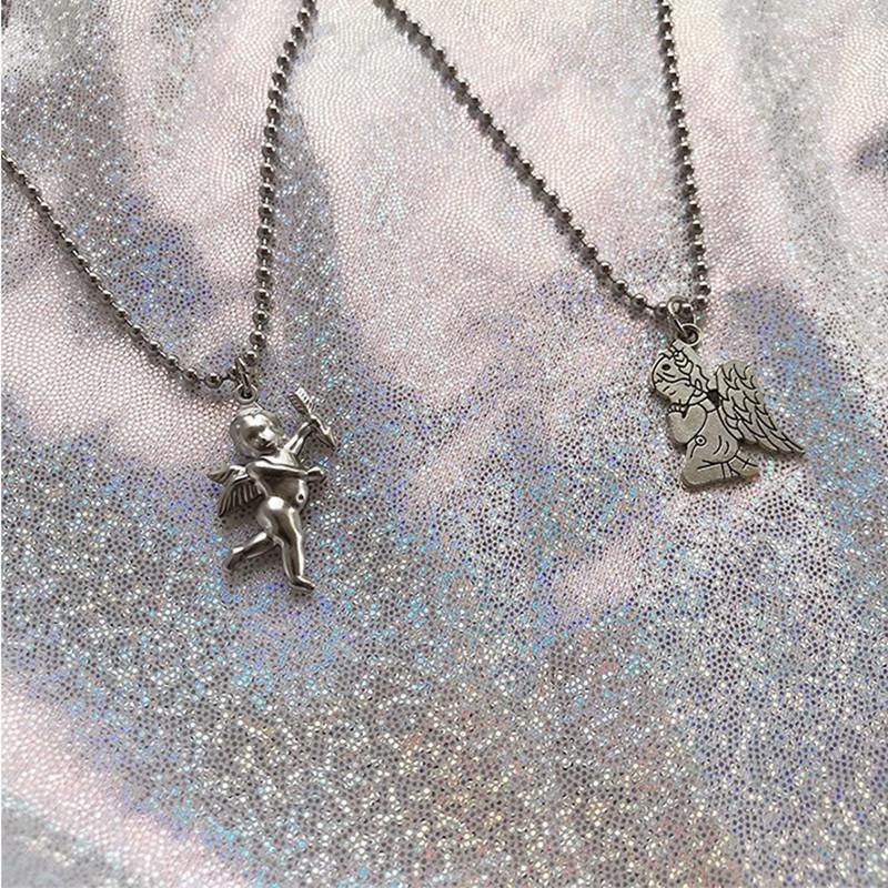 欧美ins超仙冷淡风祈祷天使丘比特项链复古百搭短款锁骨链毛衣链