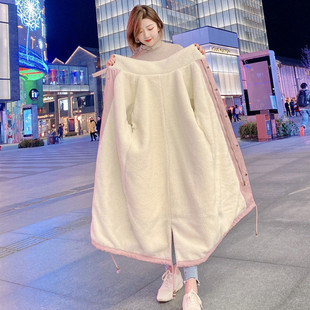 2020冬新款夹棉服女中长款过膝加绒棉衣羊羔毛蓬ins港风工装外套