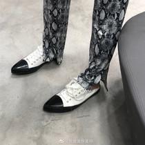 复古平底板鞋女ins新款欧美细带低帮尖头帆布鞋2019美伢同款女鞋