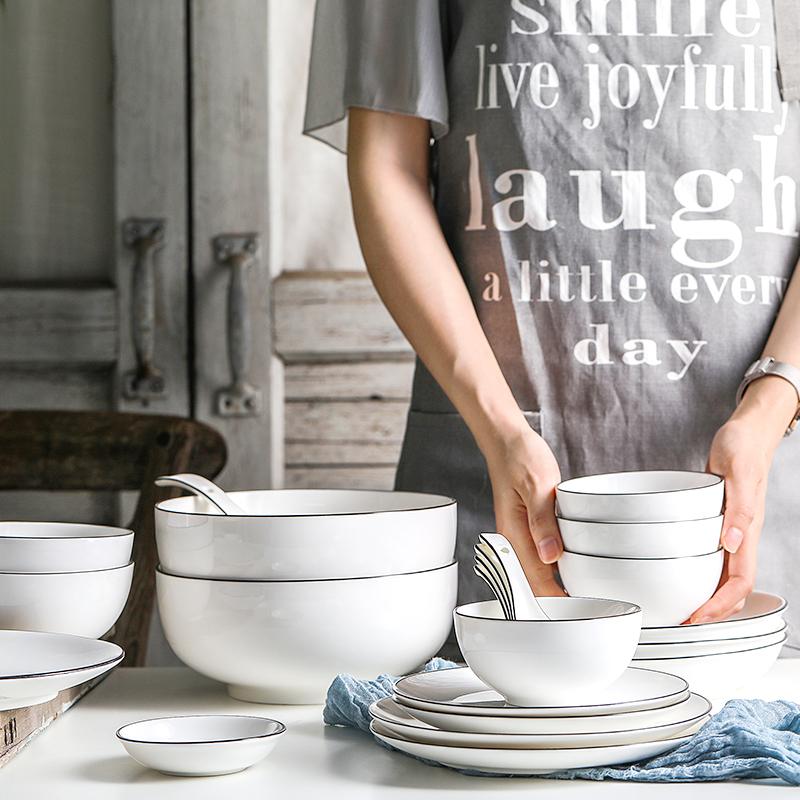 日式吃飯碗家用餐具套裝 碗盤陶瓷骨瓷湯碗6寸面碗大號簡約沙拉碗