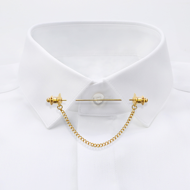 Retro British Pin Brooch mens French shirt chain pin fashion neckline decoration neckline collar stick