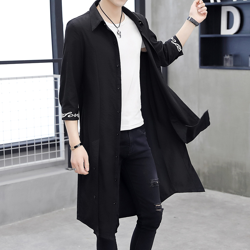 Spring and autumn long cotton and hemp windbreaker mens long knee Cape youth standing collar seven point sleeve shirt sunscreen thin coat