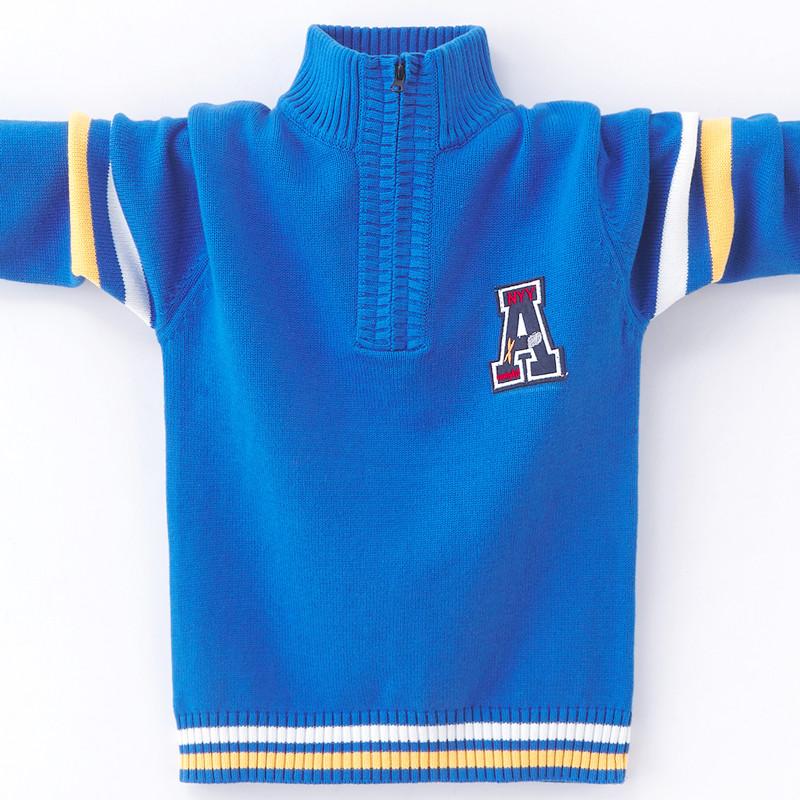 男童半高领毛衣潮纯棉儿童中大童拉链针织衫加绒加厚男孩4-15洋气图片
