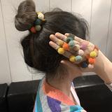 韩国ins网红少女可爱豆豆橡皮筋发圈头绳女宽边扎头发高弹力发绳
