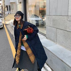MONA 菱格棉服女中长款2019韩版宽松复古冬季工装网红棉衣外套潮