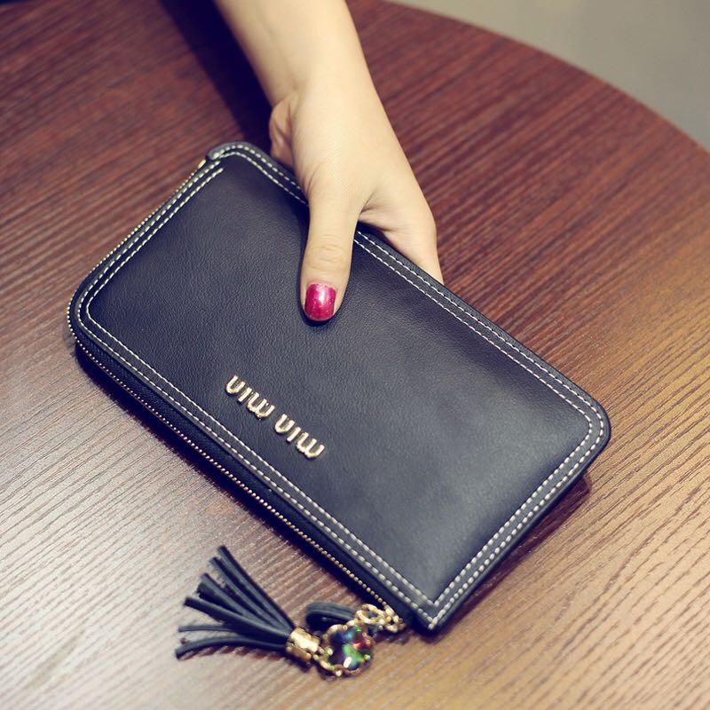 European and American wallet womens long fashion bag atmosphere simple womens Zipper Wallet thin large capacity Wallet