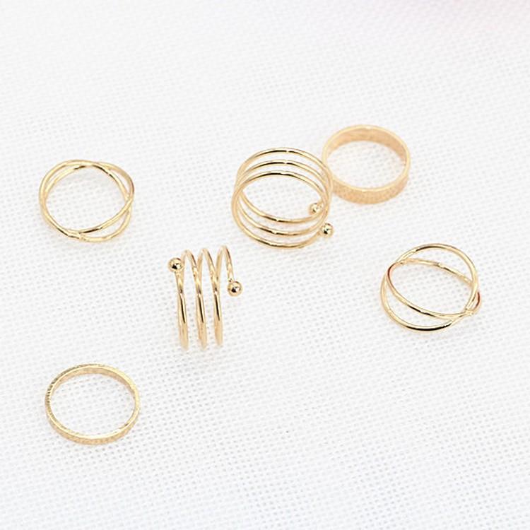 六件套戒指饰品6速卖通欧美爆款交叉个姓戒指金属组合