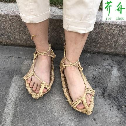 2020夏季新款草鞋稻草网红军个性复古天然潮特色男女凉鞋藤草编织