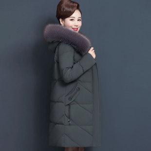中老年棉衣女中长款2018新款妈妈羽绒棉服40岁50中年棉袄冬装外套