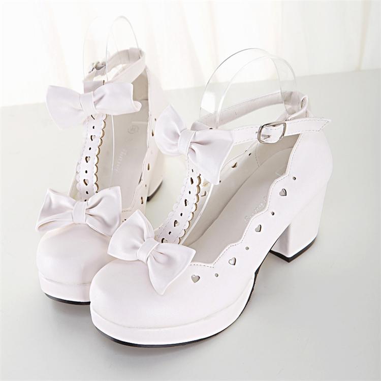 ロリータの靴女子学生可愛い丸首コスプレプリンセスの日系ロリータオリジナルのヤンキーヒールロリ靴