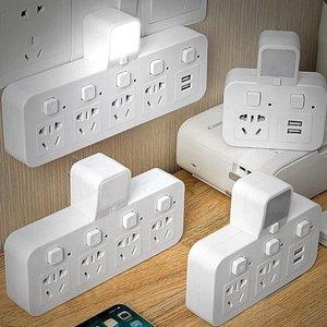 插座厨房扩展学生转换卧室转换器电插板一拖二面板插口多孔小巧