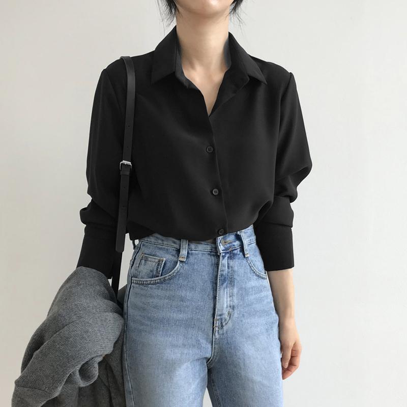 雪纺衬衫女2021春季新款韩版宽松显瘦打底衫黑色职业OL百搭上衣潮