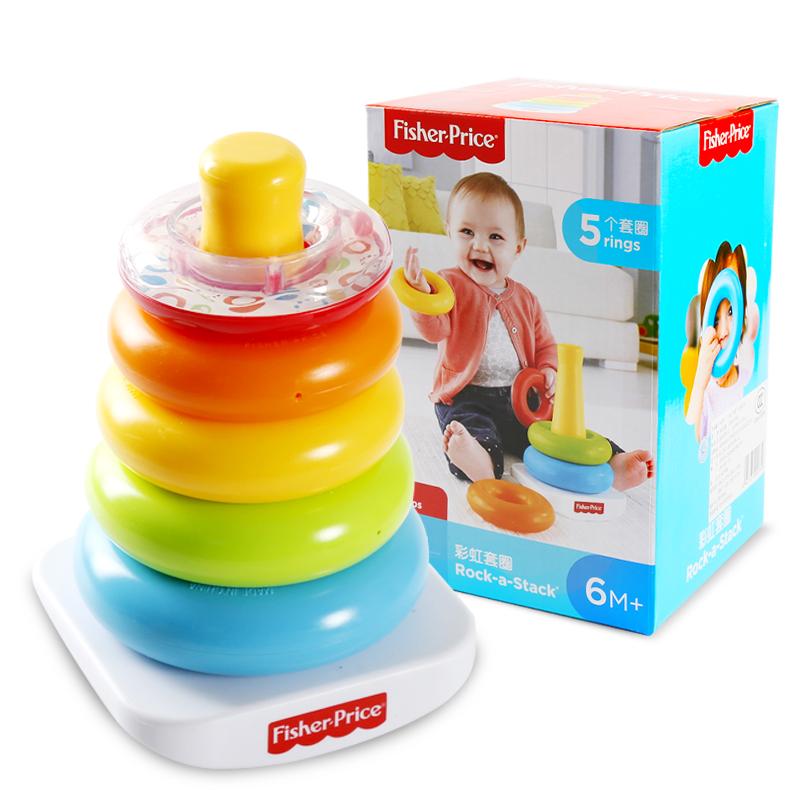 費雪 彩虹套圈N8248嬰幼兒早教益智玩具疊疊樂套圈彩虹圈套塔積木