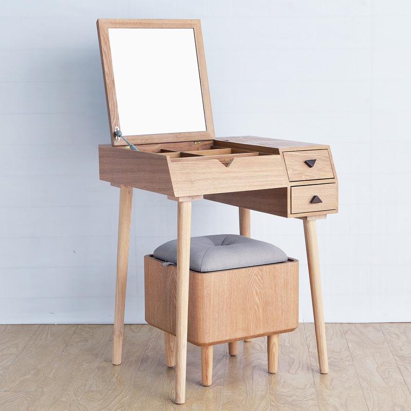 梳妆台实木小户型卧室翻盖迷你多功能化妆桌现代简约北欧式化妆柜