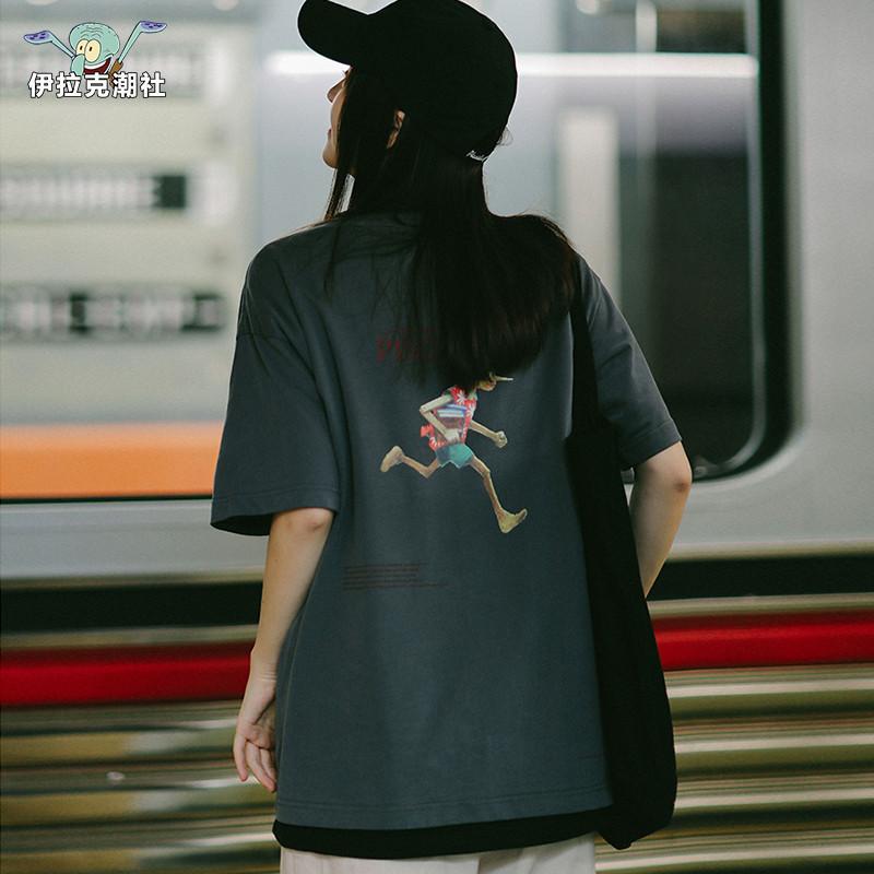 【正品国潮】伊拉克潮社PSO夏皮诺曹个性图案五分袖T恤短袖卡通女