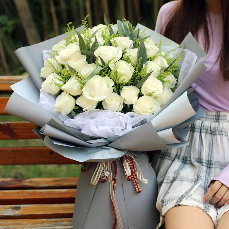 33朵白玫瑰榆林安康商洛长武同城鲜花速递皋兰榆中永登送花店全国