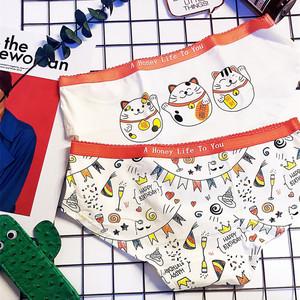 韩国原单少女可爱卡通日系甜美招财猫纯棉内裤女士舒适白色三角裤