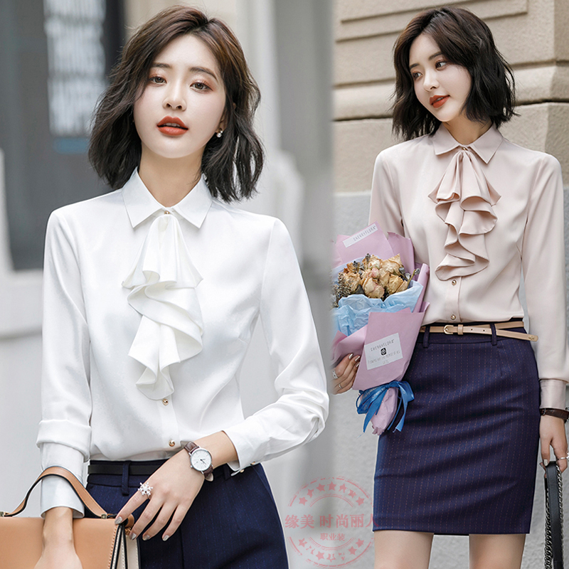 Chiffon shirt womens long sleeve new Korean foreign style ruffled white shirt work clothes autumn wear versatile top