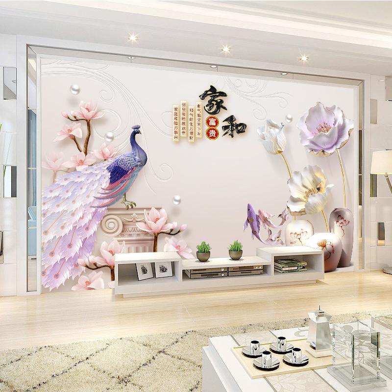 电视背景墙壁纸简约现代客厅装饰3d立体壁画大气卧室影视墙布家用