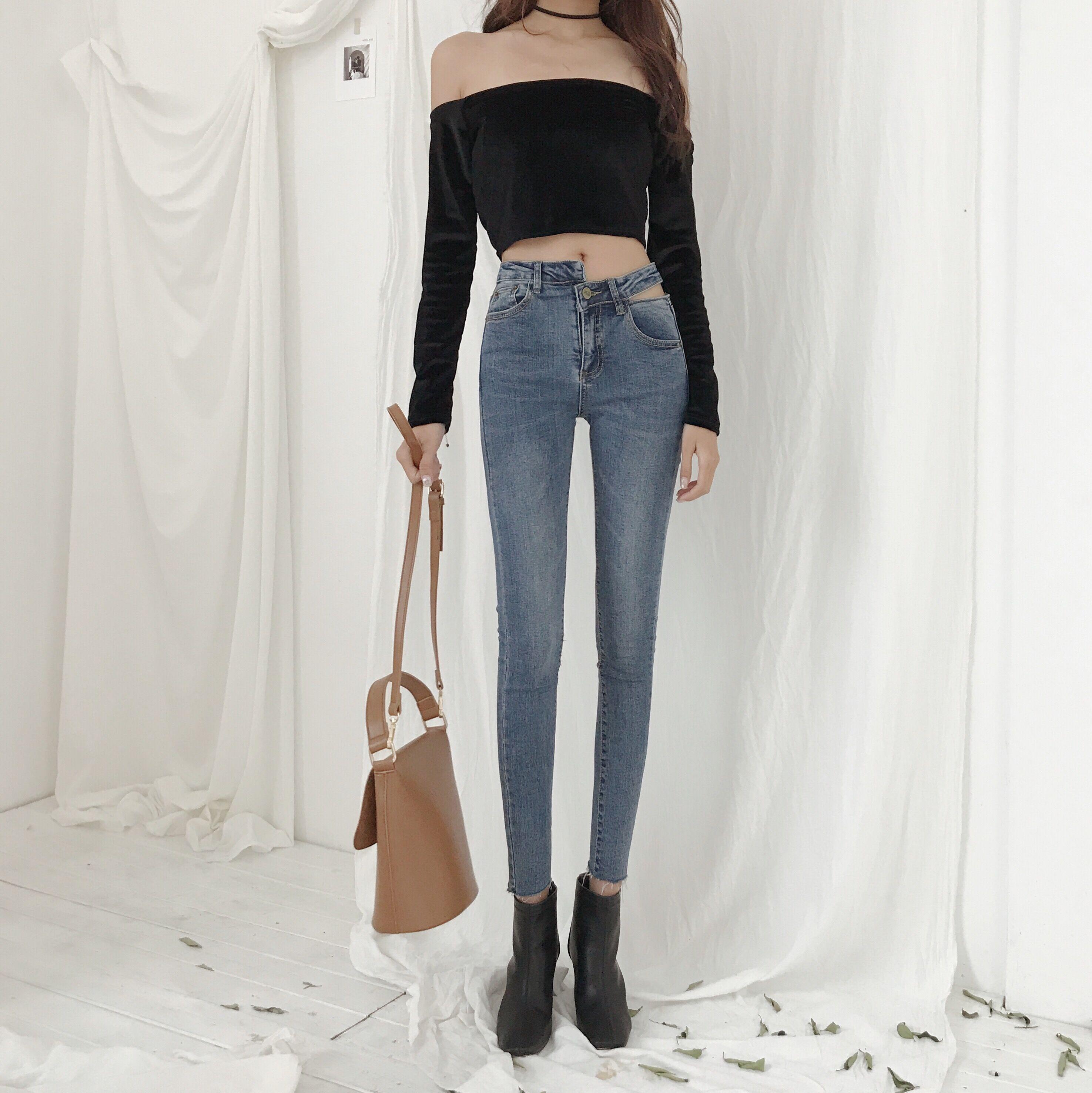 韩版不规则腰间开裂百搭牛仔裤春季高腰弹力显瘦撕边铅笔长裤女潮