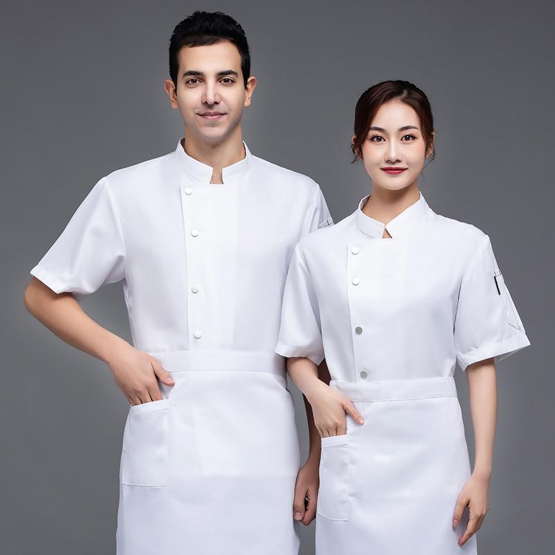面点馒头订制LOGO夏天短袖酒店厨师工作服制服西餐厅面包店烘焙师